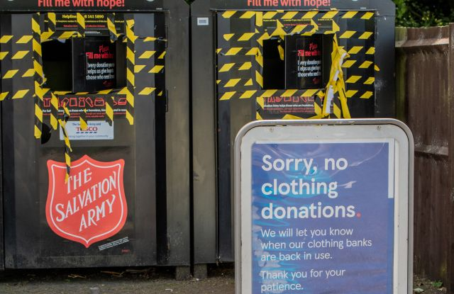 A closed clothing bank due to the Coronavirus pandemic. Many charities have seen a large fall in donations, as charity shops and fundraiser events have been temporarily shut or stopped. Lewes, East Sussex.Coronavirus Covid-19 outbreak, Lewes, East Sussex, UK - 22 May 2020