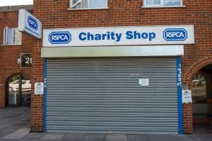 The RSCPA Charity Shop in Cippenham, Slough, Berkshire remains temporarily closed during the Coronavirus Covid-19 lockdown, however, charity shops are now being allowed reopen as the Coronavirus lockdown measures are easedCoronavirus lockdown, Berkshire, UK - 28 May 2020