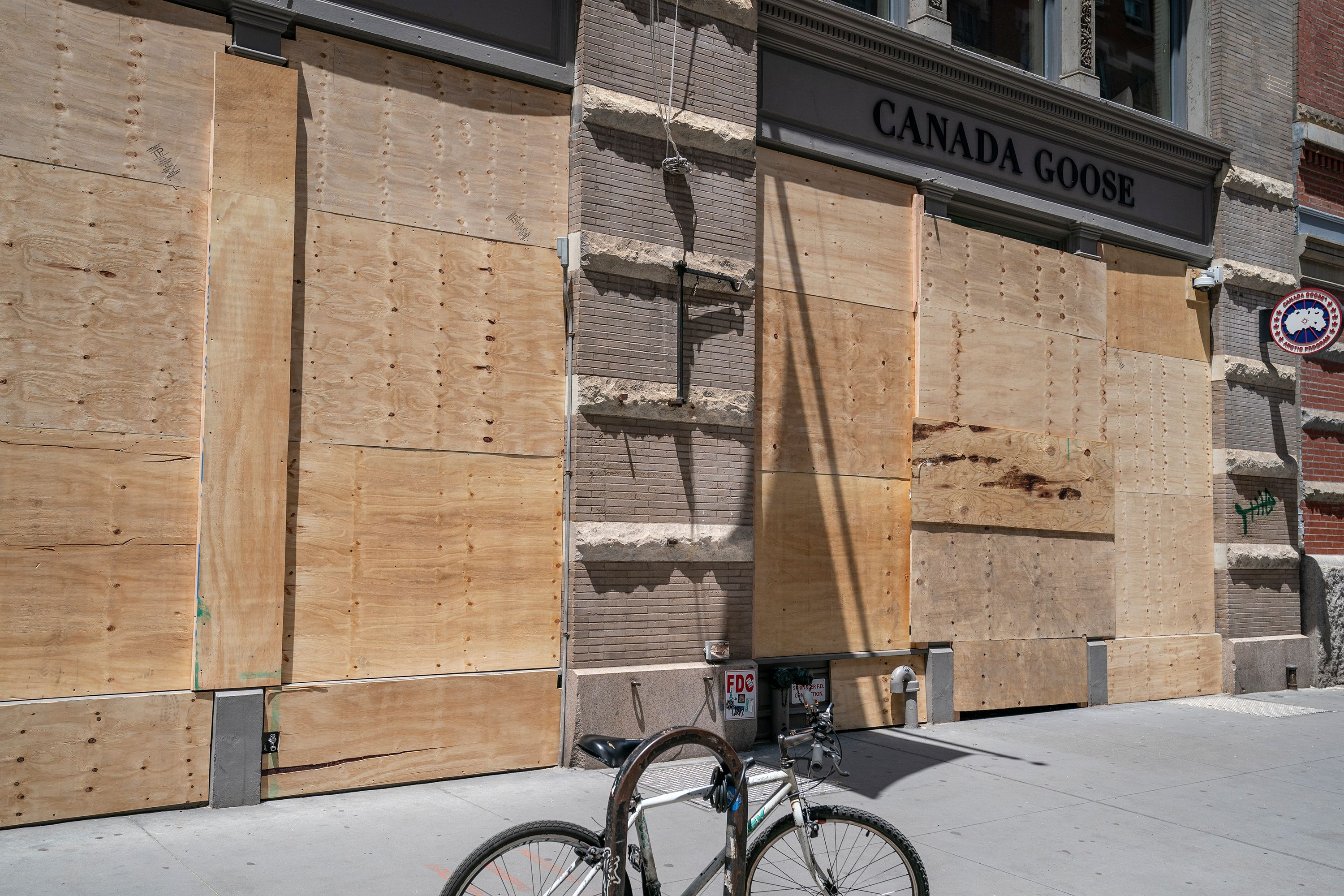 boarded up canada goose store SoHo