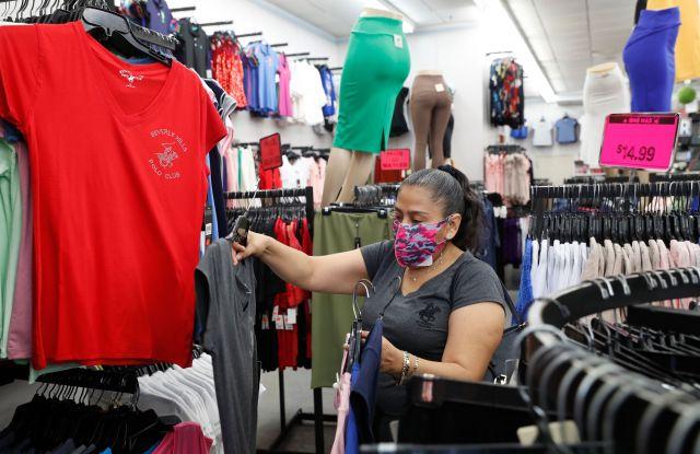 woman mask shopping clothing store