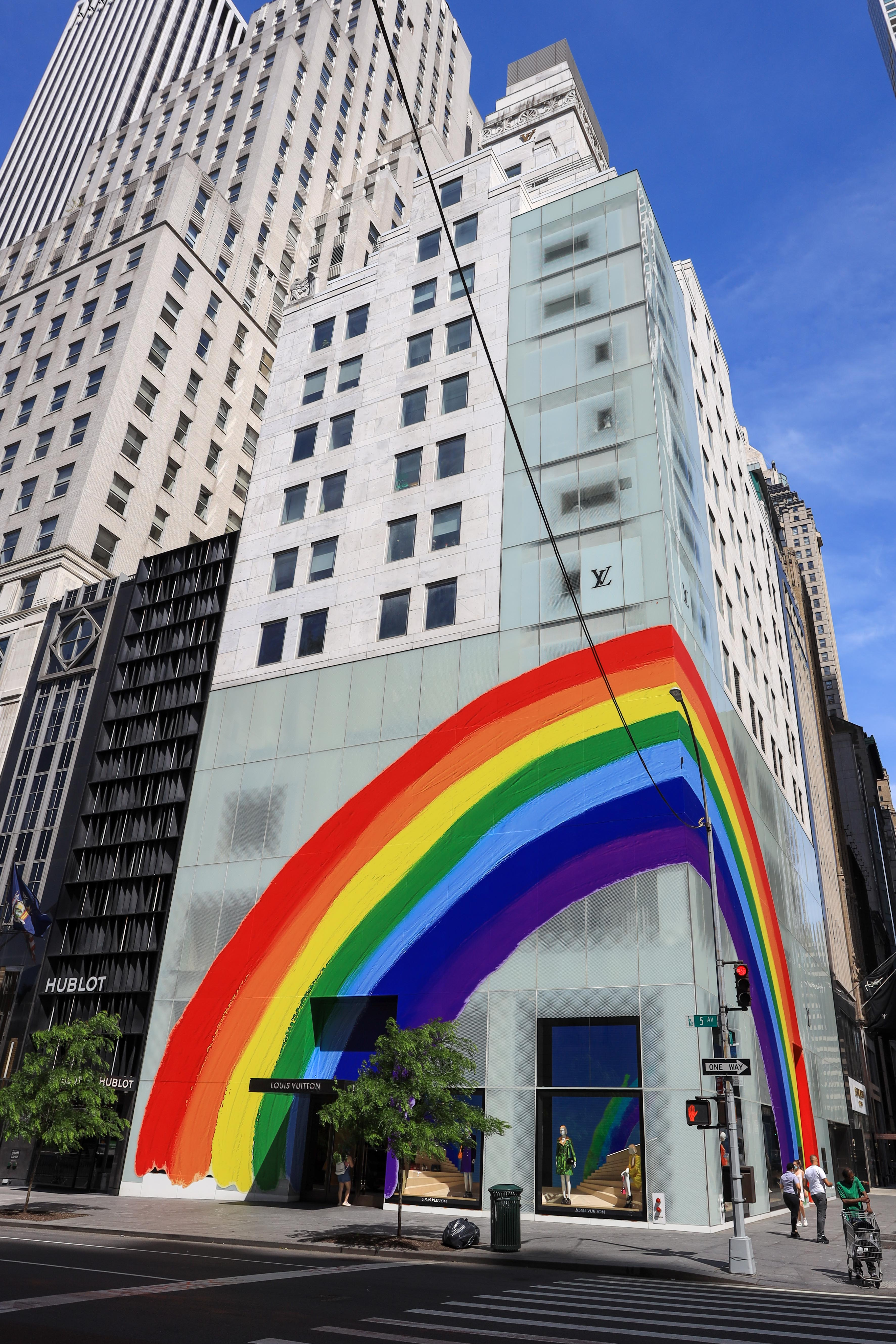Louis Vuitton store is seen with a rainbow in reference to LGBTQ + pride month on Fifth AvenueLouis Vuitton store LGBTQ Pride mural, New York, USA - 16 Jun 2020