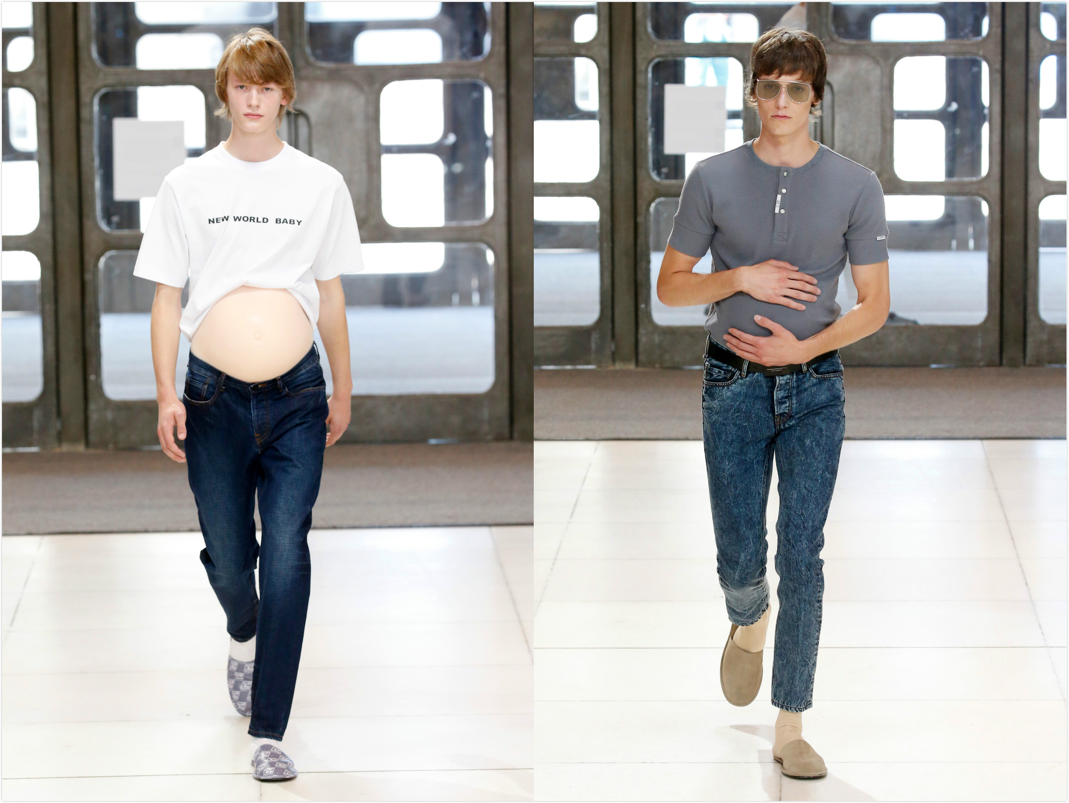 Xander Zhou showcased male pregnancy in his spring 2019 collecitons.