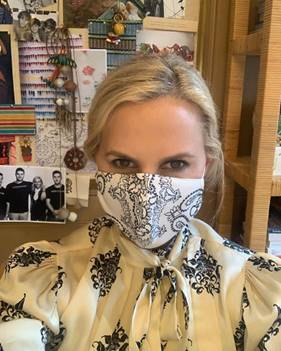 Tory Burch in her mask.