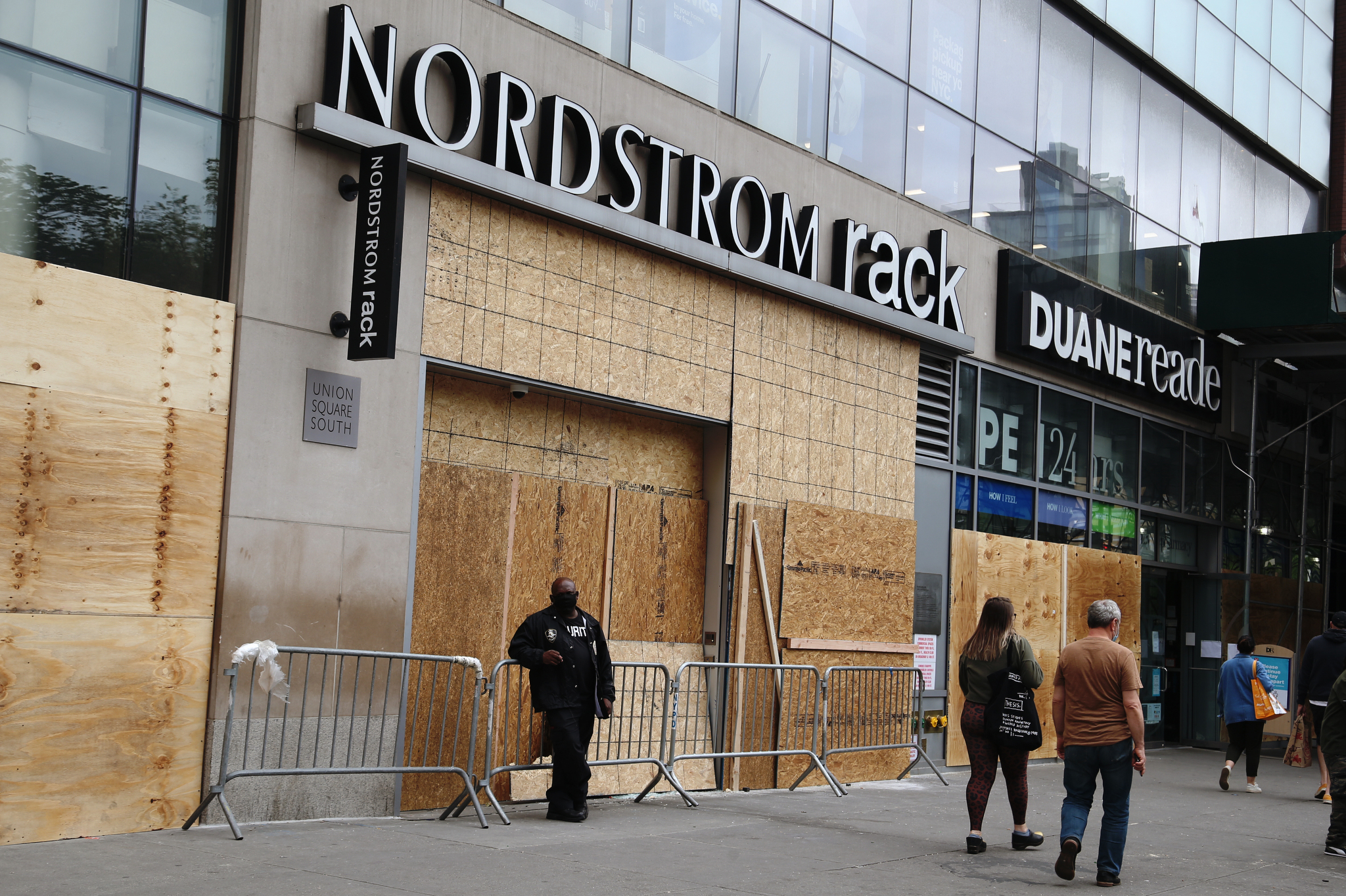 Nordstrom Rack boarded up in New York's Union Square.