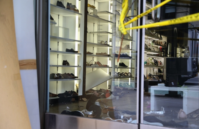 A New York store broken into and vandalized.