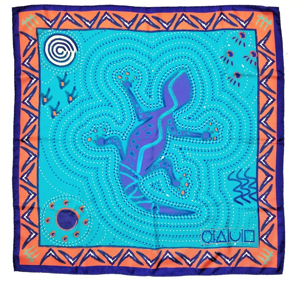 X of Pentacles' Aborigine art print silk twill Carré scarf.
