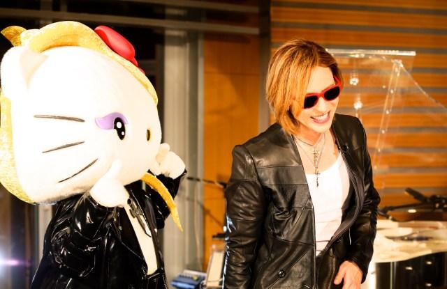 Yoshikitty and the character's creator Yoshiki.
