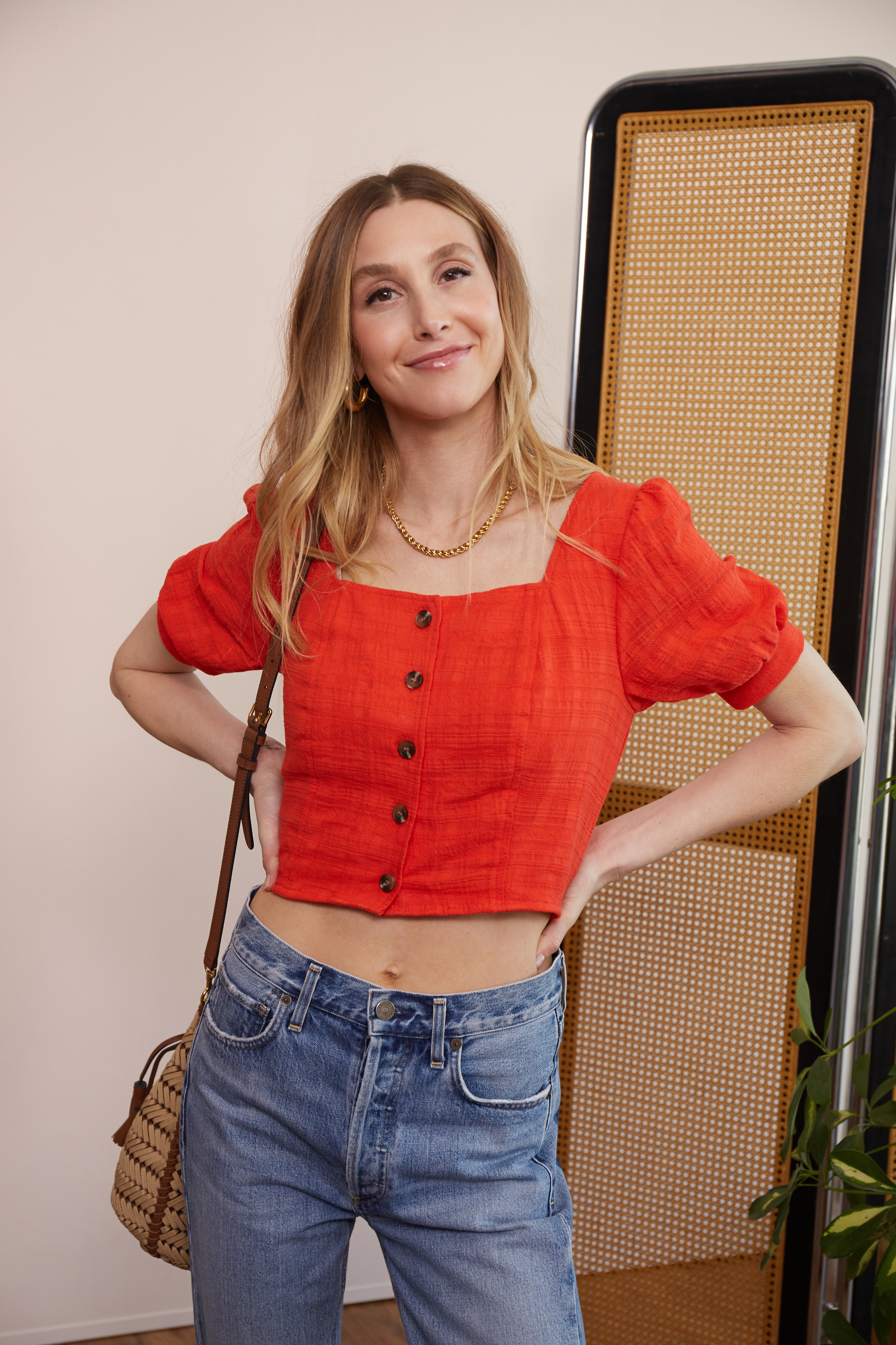 Whitney Port in a look from the Love, Whit capsule for Rent the Runway.