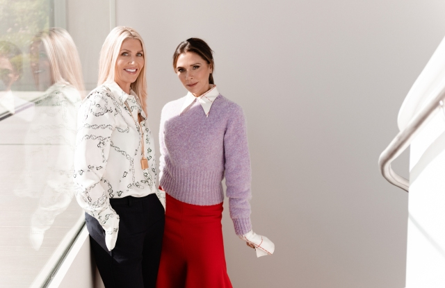 Victoria Beckham with Sarah Creal, cofounder and chief executive officer of Victoria Beckham Beauty.