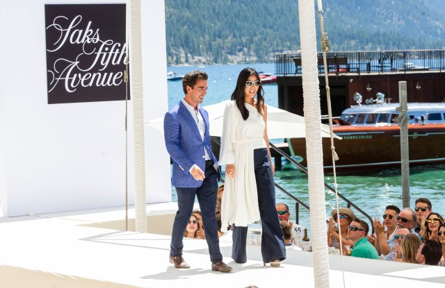 INCLINE VILLAGE, CA - August 3 - Fernando Garcia and Laura Kim attend Saks Fifth Avenue and Oscar de La Renta Fashion Show to Benefit The League to Save Lake Tahoe 2019 on August 3rd 2019 at Schumaker Home in Incline Village, CA (Photo - Andrew Caulfield for Drew Altizer Photography)