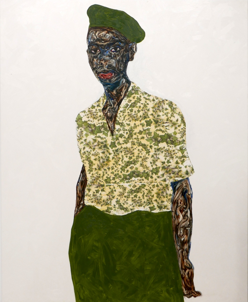 "Amoako Boafo's painting ""Green Beret."""