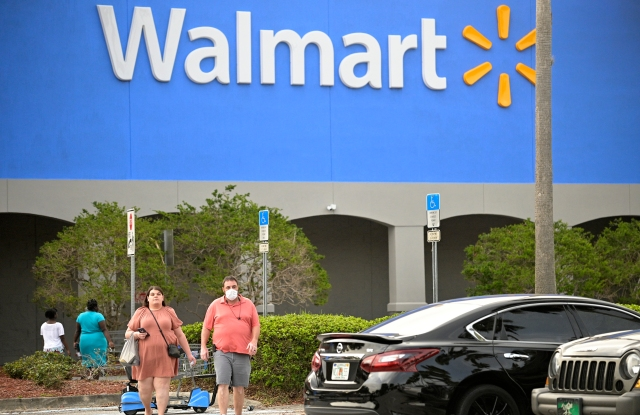 Walmart shoppers in Florida at the end of June.