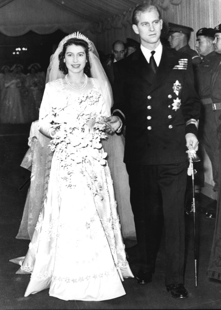 Princess Beatrice wedding. File photo dated 20/11/1947 of Queen Elizabeth II alongside the Duke of Edinburgh as they leave Westminster Abbey after their marriage ceremony. The Queen is wearing the same tiara that was worn by Princess Beatrice at her wedding to Edoardo Mapelli Mozzi on Friday. Issue date: Saturday July 18, 2020. See PA story ROYAL Beatrice. Photo credit should read: PA Photos/PA Wire URN:54642672 (Press Association via AP Images)