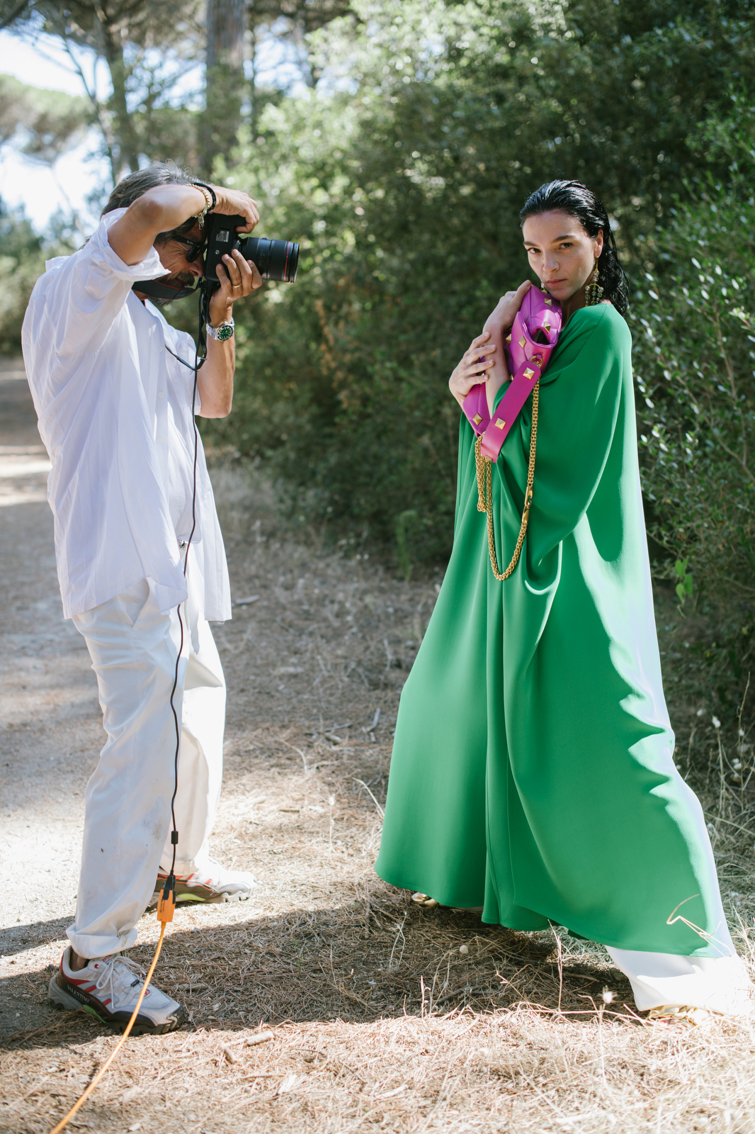 Pierpaolo Piccioli photographs Mariacarla Boscono wearing a look from his upcoming resort collection.