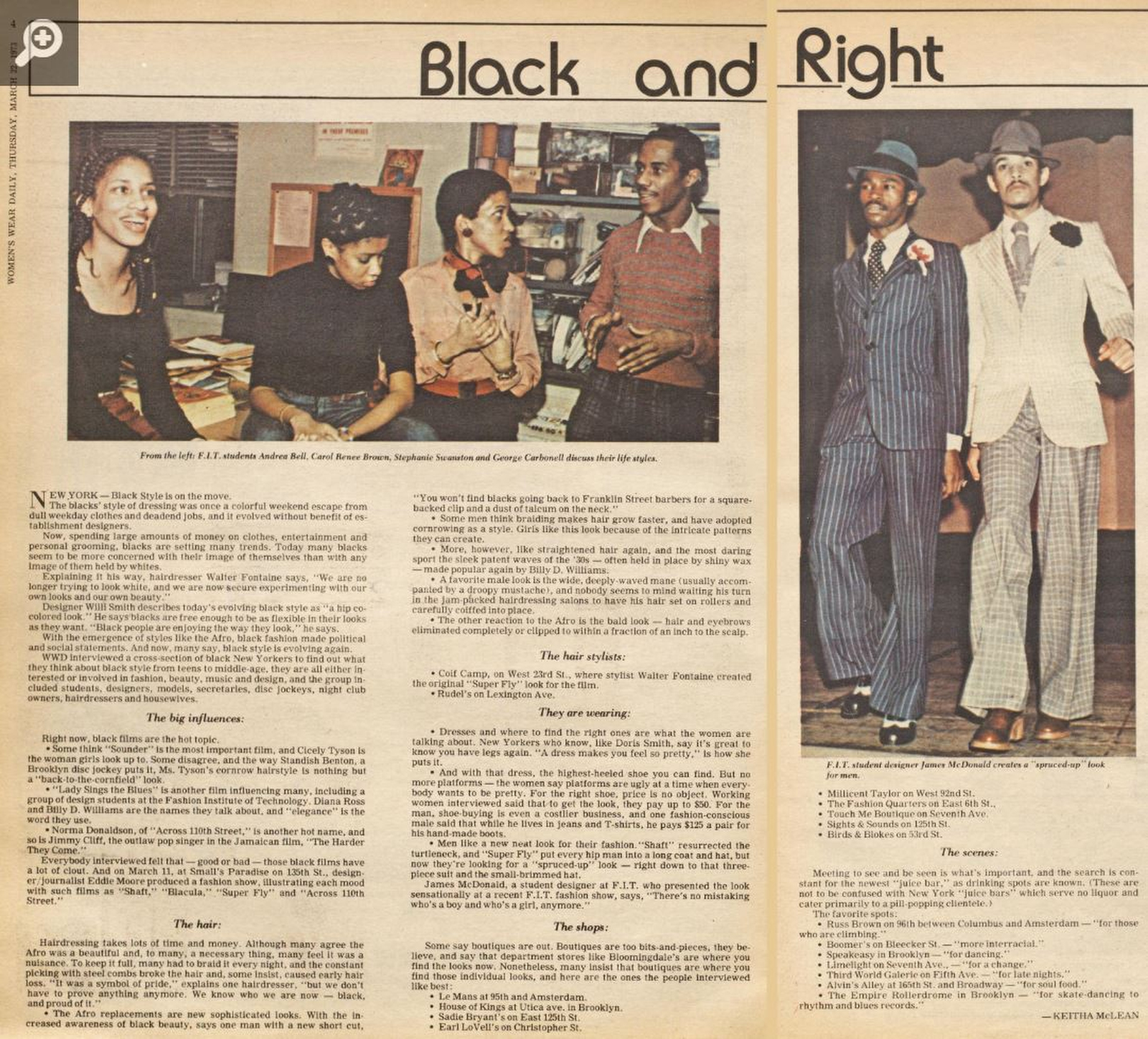 """Black and Right,"" a 1973 article from the WWD archives."