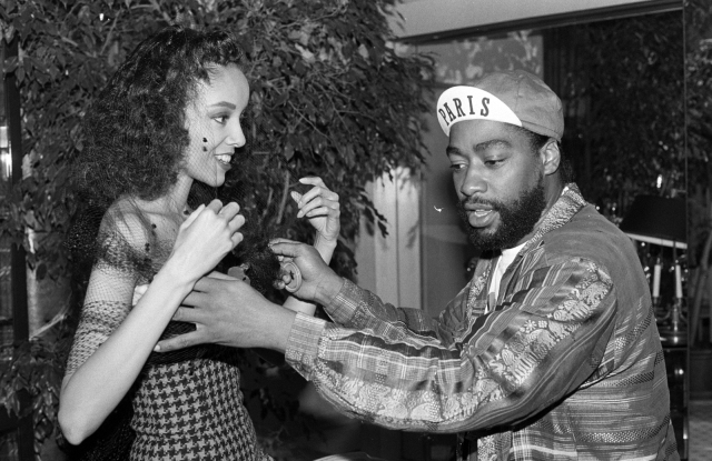 Designer Patrick Kelly with Model Jamie Foster in a look from his debut Made to Order Collection for Fall 1988.