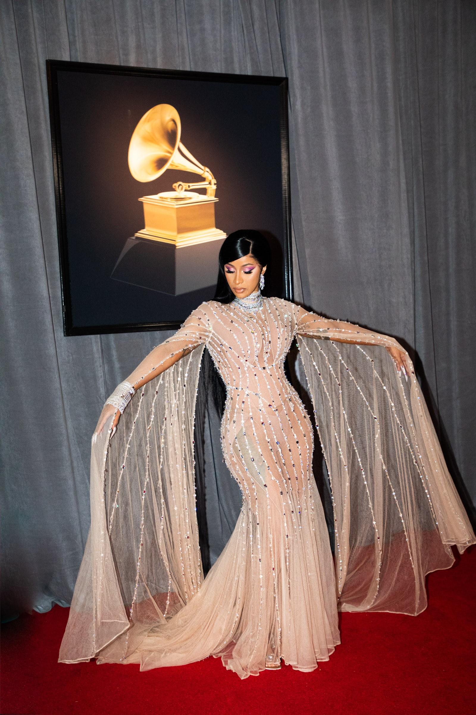 Cardi B wearing a Mugler custom creation at the 2020 Grammys Awards