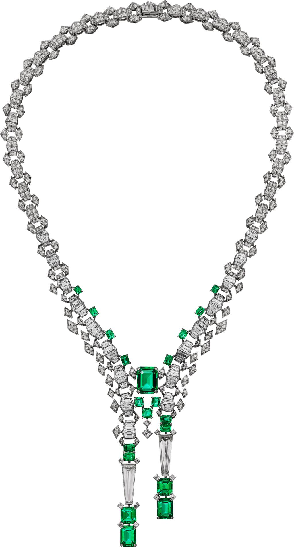 Cartier Gharial emerald and diamond necklace.