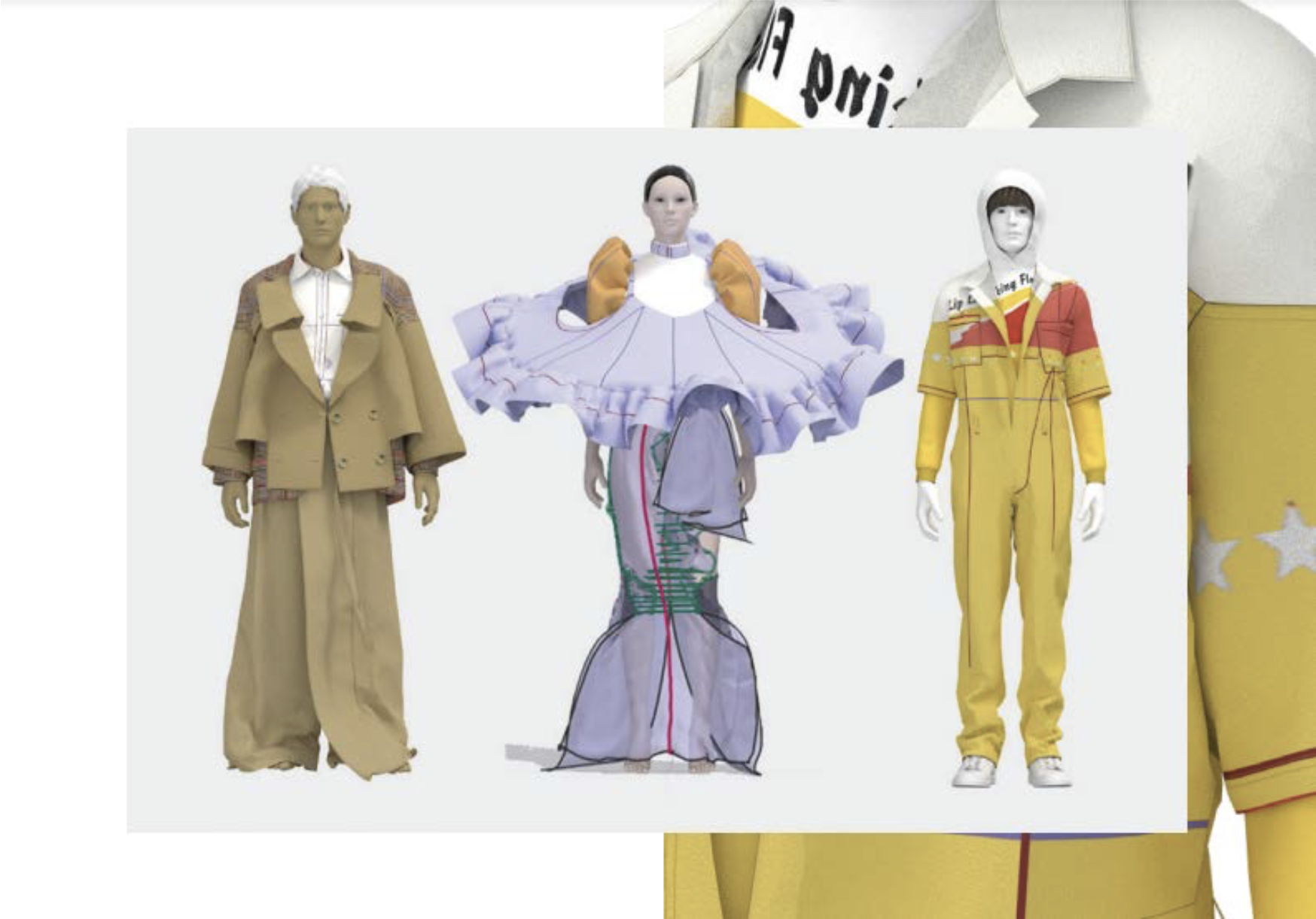 3D models of three looks from Marie Isacsson's RCA graduate collection.
