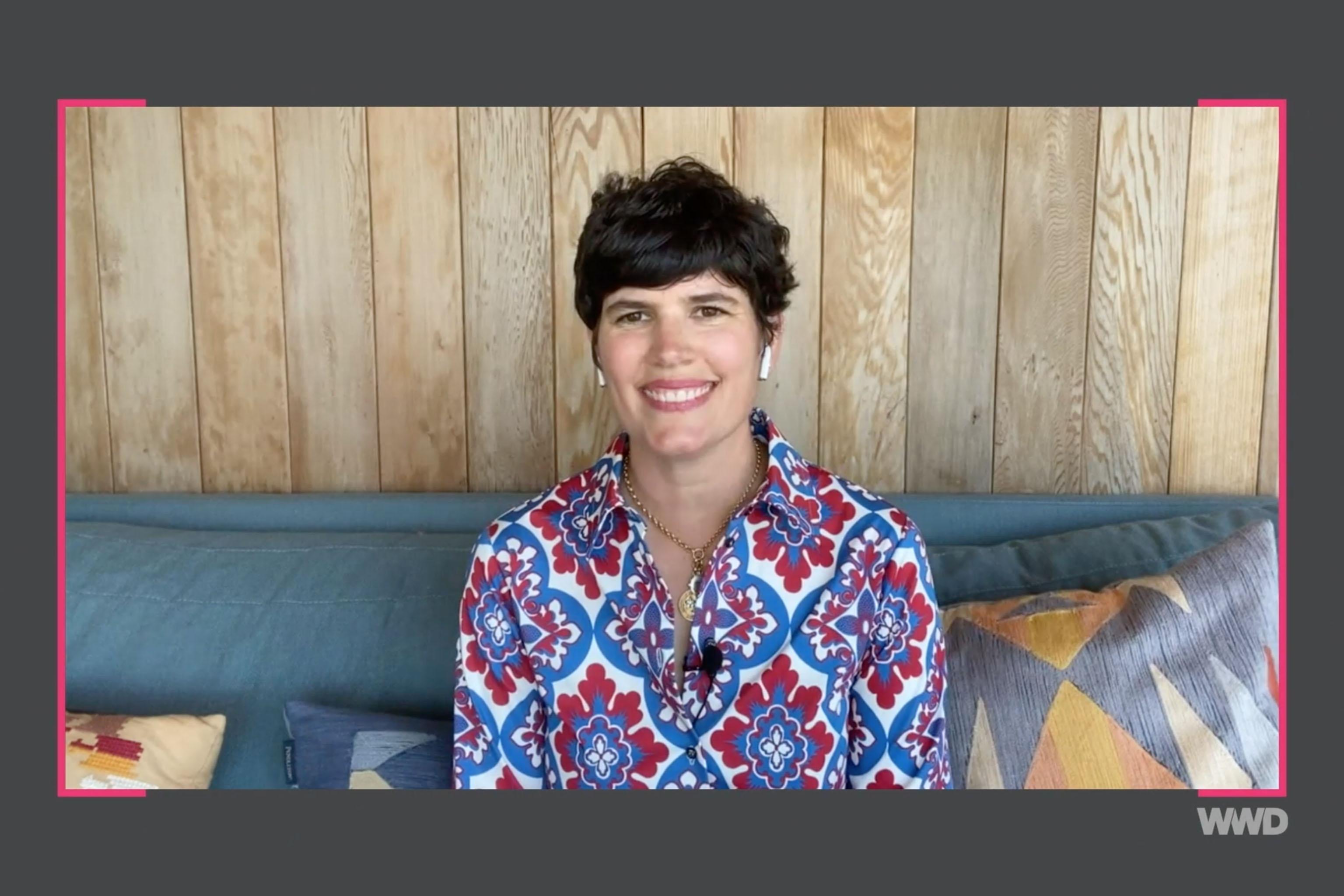 Elise Loehnen speaking at the WWD Wellness Summit.