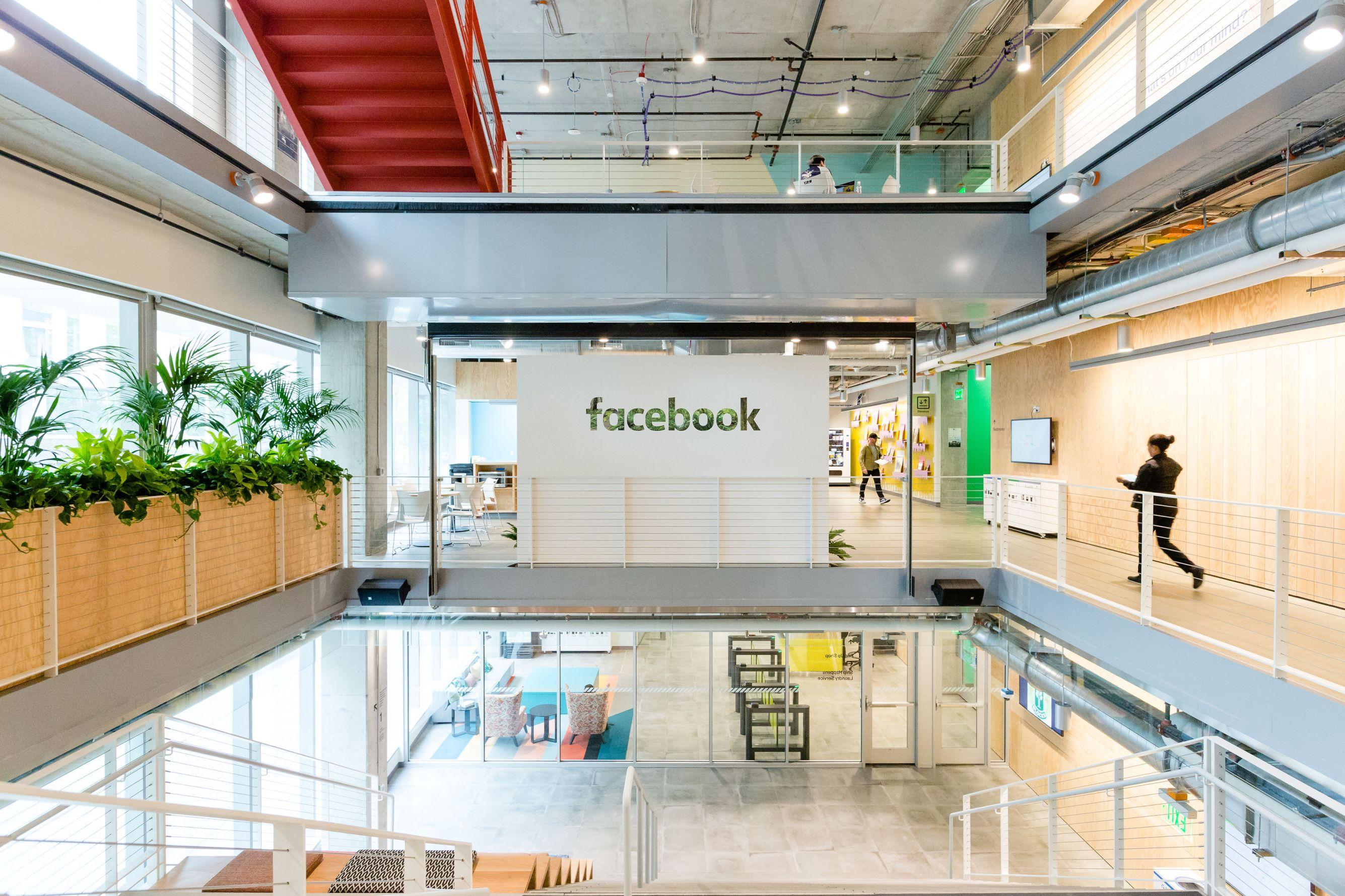 The atrium at Facebook's Seattle office.