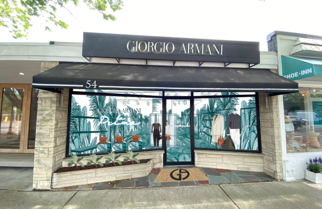 A rendering of Giorgio Armani's facade at its pop-up in East Hampton, N.Y.