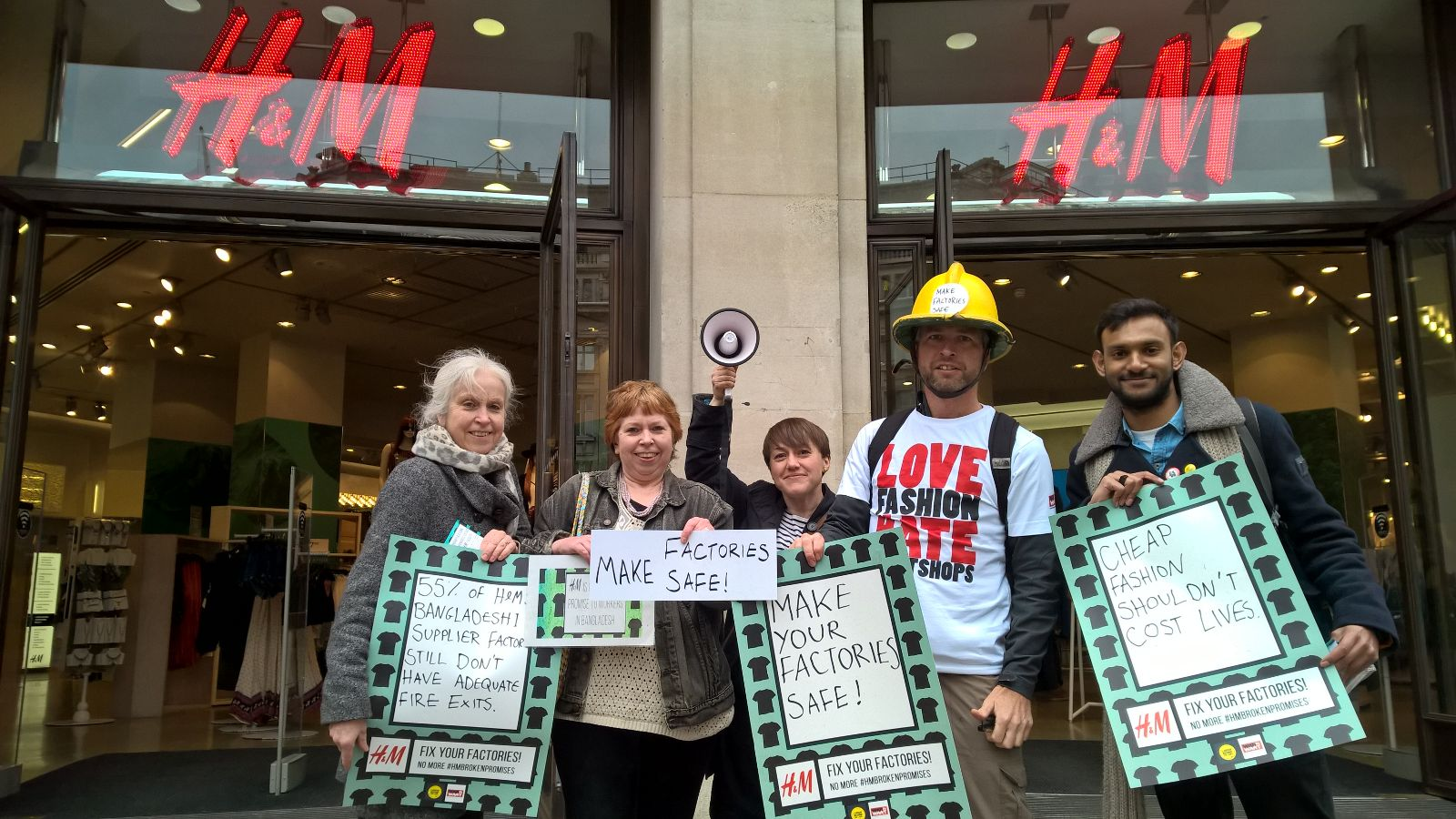 Labour Behind the Label protesting in front of an H&M store.