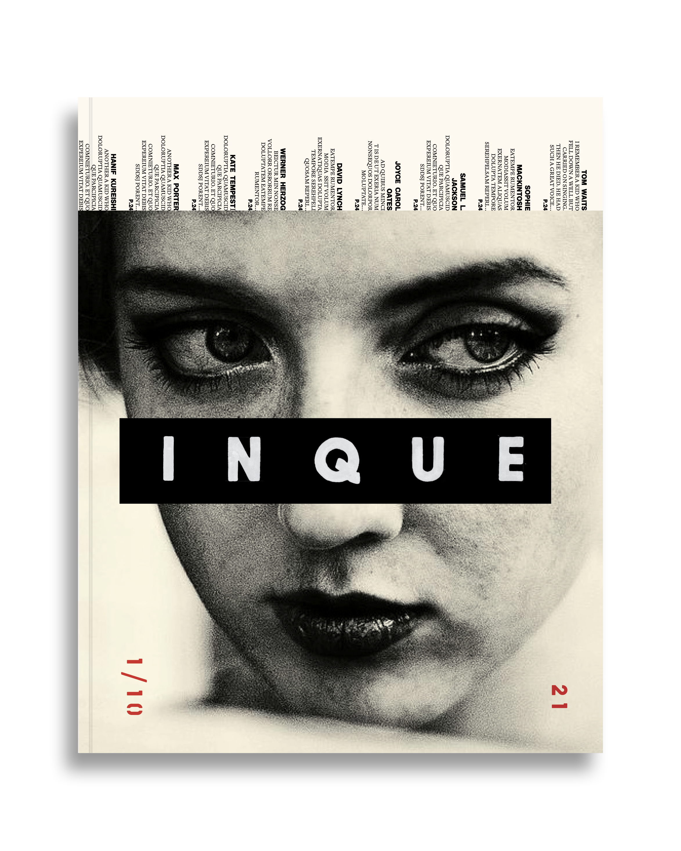 A mock-up of Inque's debut cover. The magazine will come out once a year for the next 10 years.