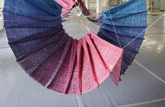 Jeremy Ripley created this textile on a rented loom that he reassembled in the basement of a building.
