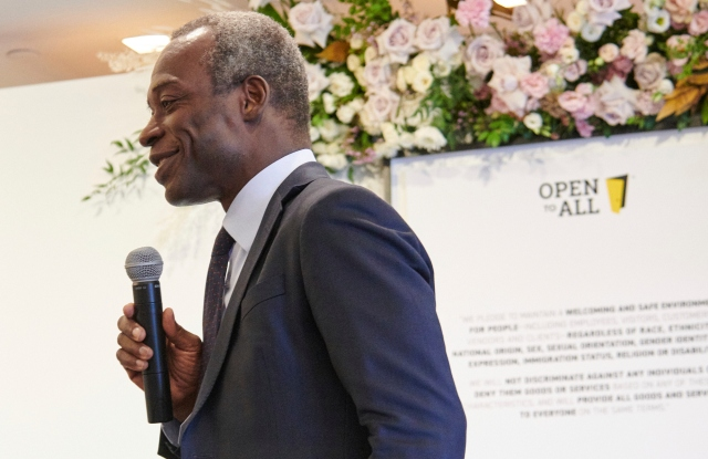 IMAGE DISTRIBUTED FOR TAPESTRY, INC. - Tapestry Chairman and CEO Jide Zeitlin welcomes over 50 fashion houses and brands to the fashion industry's Open to All pledge-signing on Thursday, Sept. 5, 2019 in New York. (Loren Matthew/AP Images for Tapestry, Inc.)