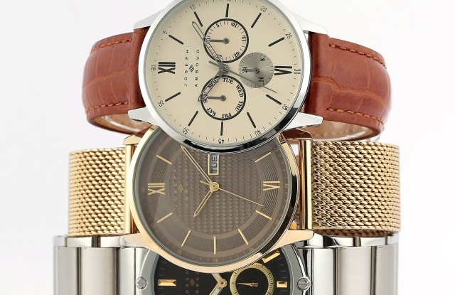 Models from the soon-to-launch Joseph Abboud watch collection.