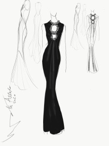 Olivier Theyskens for Azzaro Couture sketch