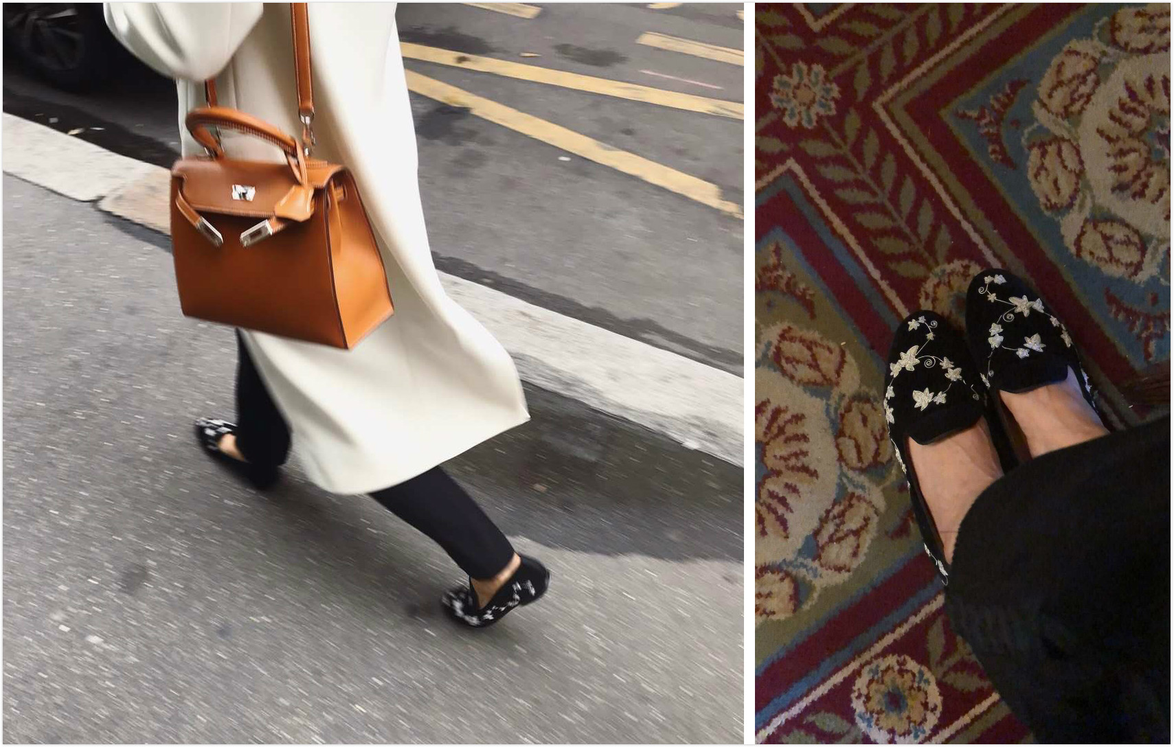 One of Bing Xu's Tai-tai clients pair her Hermes wool coat and Kelly 28 Sellier Barenia bag with a pair of bespoke Bing Xu loafer with Indian silver embroidery.