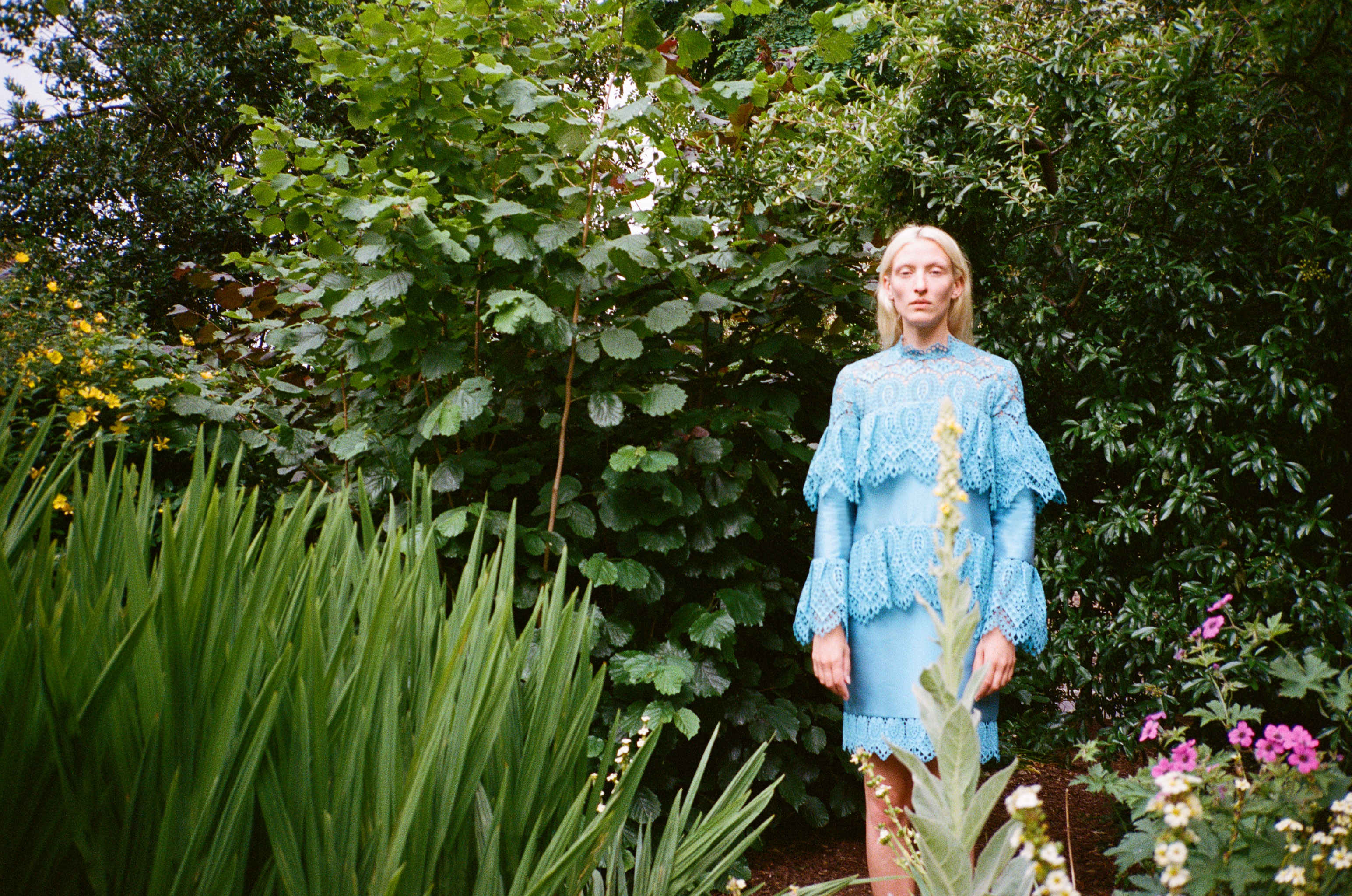 Erdem Moralioglu shot his first fashion campaign, for Matches, in the garden near his London home.