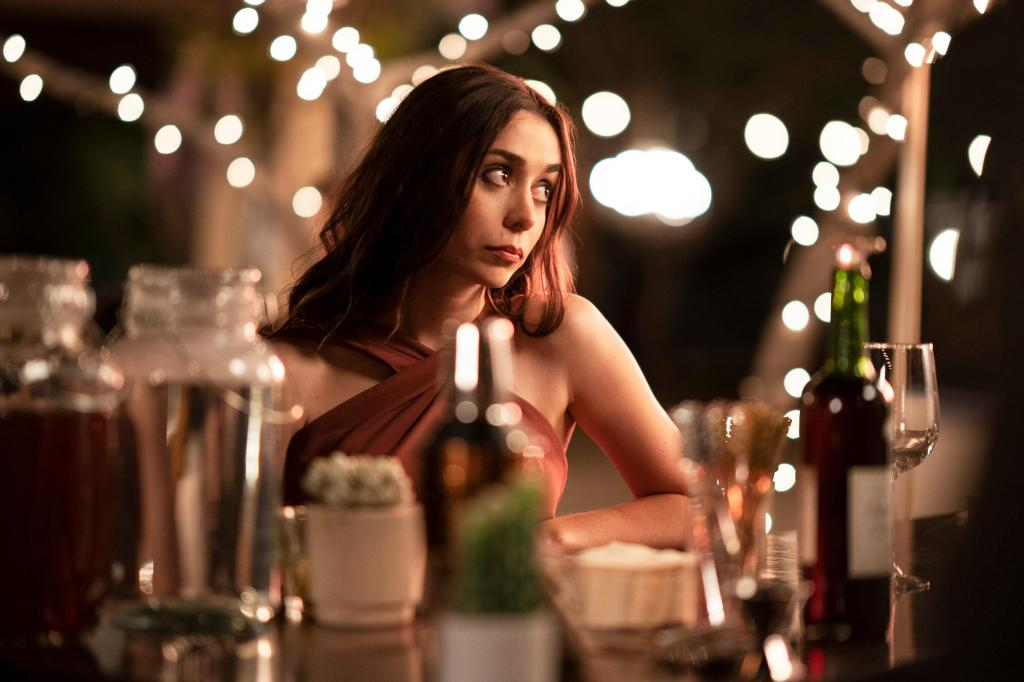 Palm Springs -- When carefree Nyles (Andy Samberg) and reluctant maid of honor Sarah (Cristin Milioti) have a chance encounter at a Palm Springs wedding, things get complicated when they find themselves unable to escape the venue, themselves, or each other. Sarah (Cristin Milioti), shown. (Photo by: Christopher Willard/Hulu)