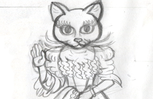 A sketch of one of the characters created for Walk your Tuna