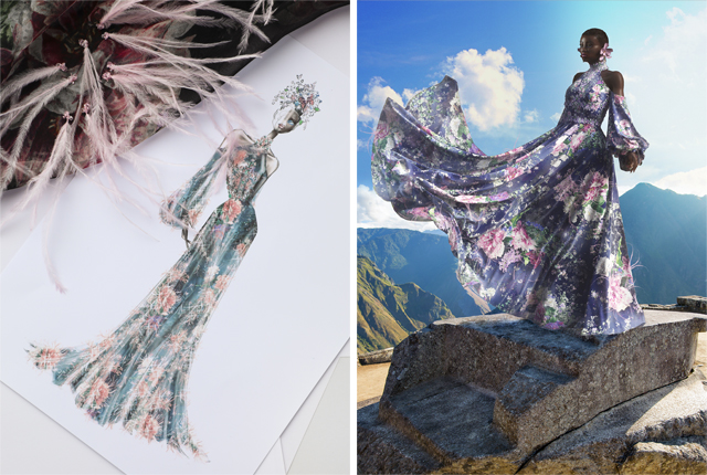 A Ralph & Russo sketch, and a digital rendering of the same dress.