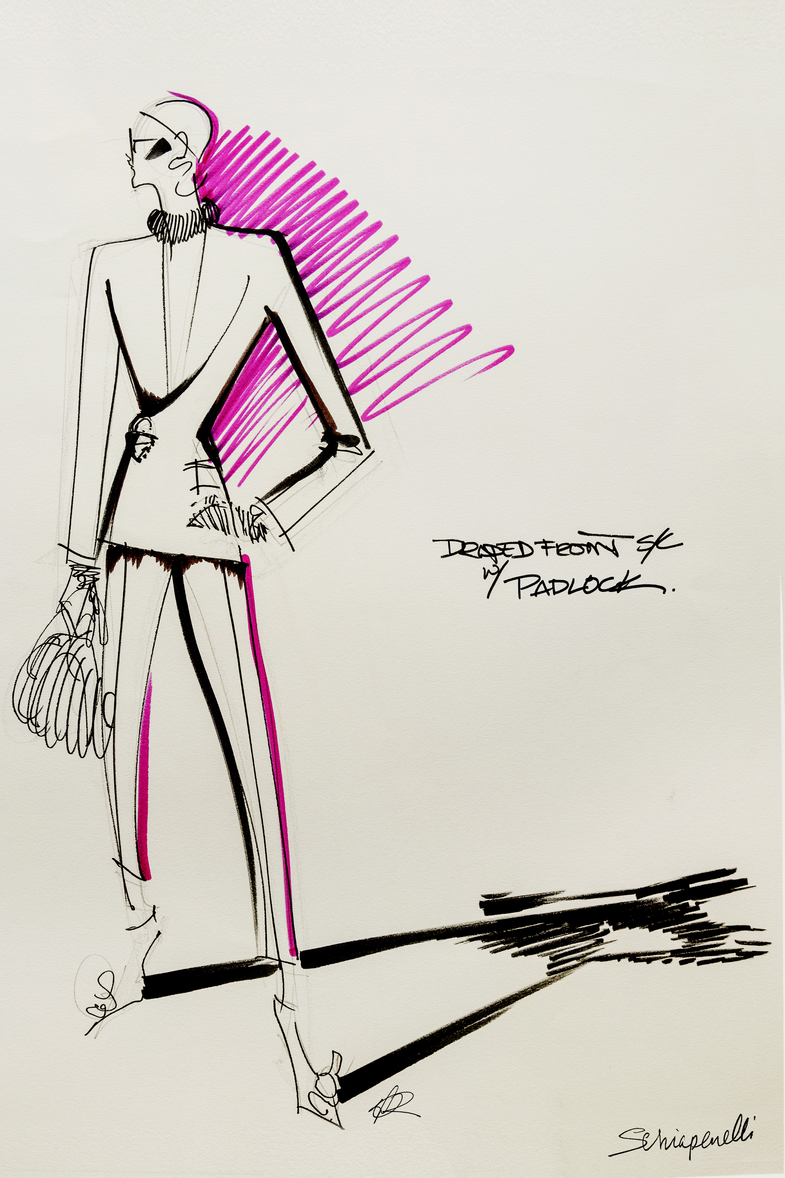 A sketch from Schiaparelli Fall 2020 Couture collection