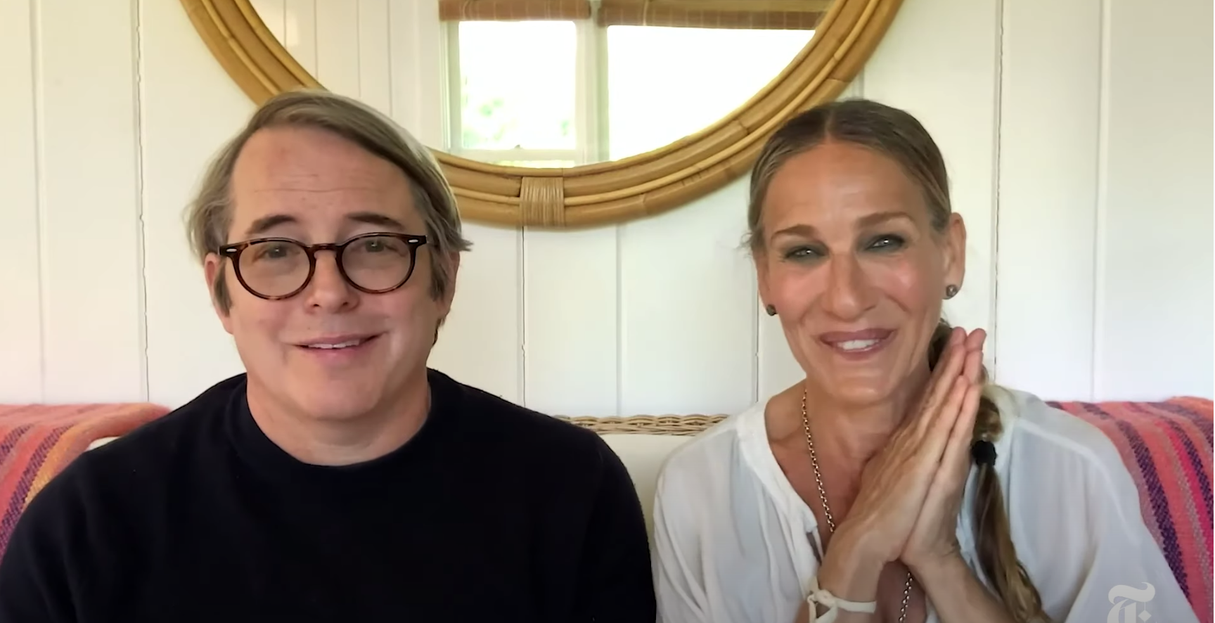 "Matthew Broderick and Sarah Jessica Parker speak at The New York Times' virtual ""Offstage: Opening Night"" event."