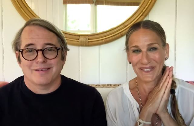 """Matthew Broderick and Sarah Jessica Parker speak at The New York Times' virtual """"Offstage: Opening Night"""" event."""