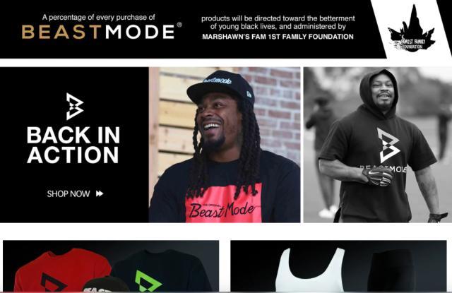 A screen shot of the Beast Mode web site.