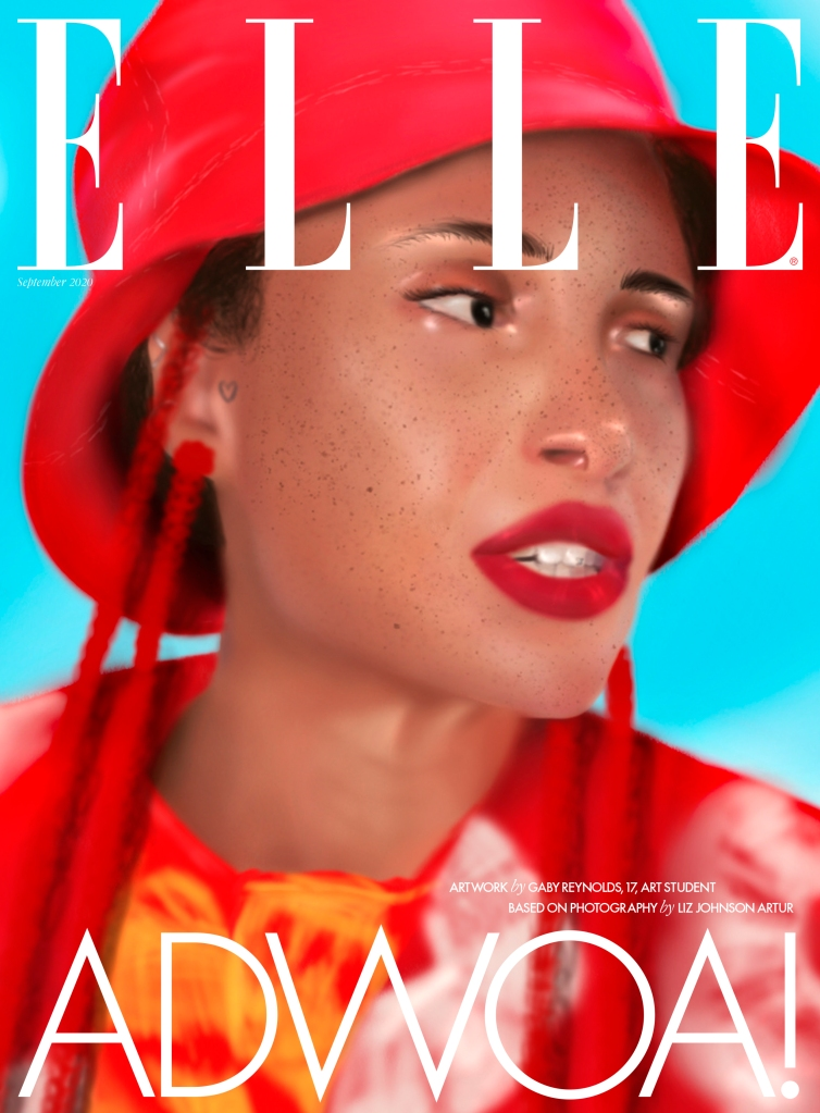 The Elle U.K. subscribers' issue featuring artwork by art student Gaby Reynolds