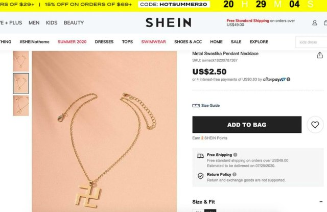 Shein Apologizes After Backlash Over Swastika Necklace