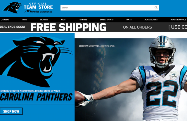 A screen shot of the Carolina Panthers' online store.