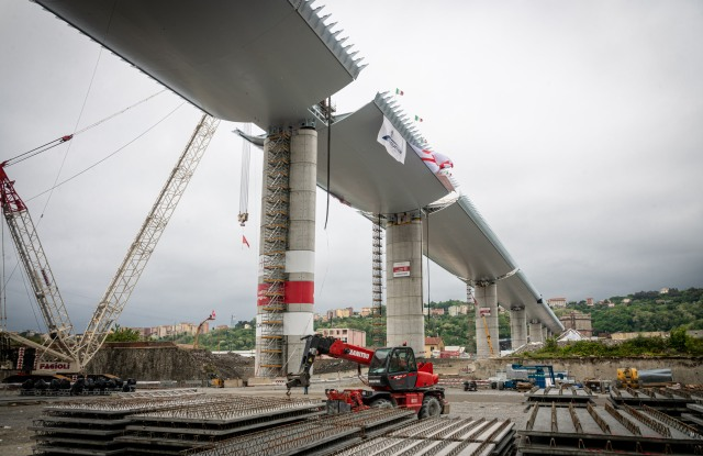 Views of the new bridge designed by Renzo Piano in place of the Morandi bridge. The steel viaduct is 1067 meters long in 19 spans and is 40 meters high.New bridge over the Polcevera, built after the collapse of Morandi in 2018, Genoa, Italy - 28 Apr 2020