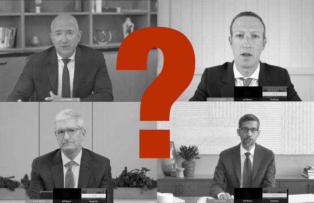 (Clockwise from upper left) Amazon ceo Jeff Bezos, Facebook ceo Jeff Zuckerberg, Apple ceo Tim Cook, Alphabet ceo Sundar Pichai.