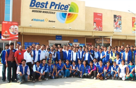walmart best price store associates standing in front