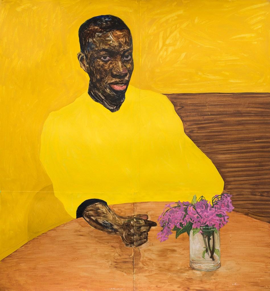 "Amoako Boafo's painting ""Yellow Dress."""