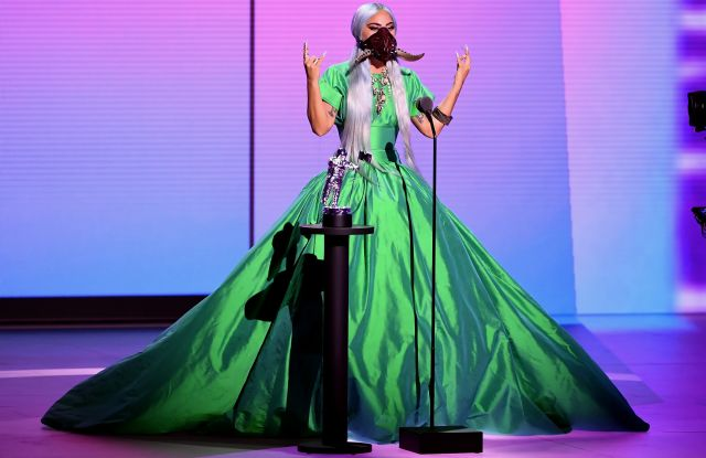 "UNSPECIFIED - AUGUST 2020: Lady Gaga accepts the Song of the Year award for ""Rain on Me"" onstage during the 2020 MTV Video Music Awards, broadcast on Sunday, August 30th 2020. (Photo by Kevin Winter/MTV VMAs 2020/Getty Images for MTV)"