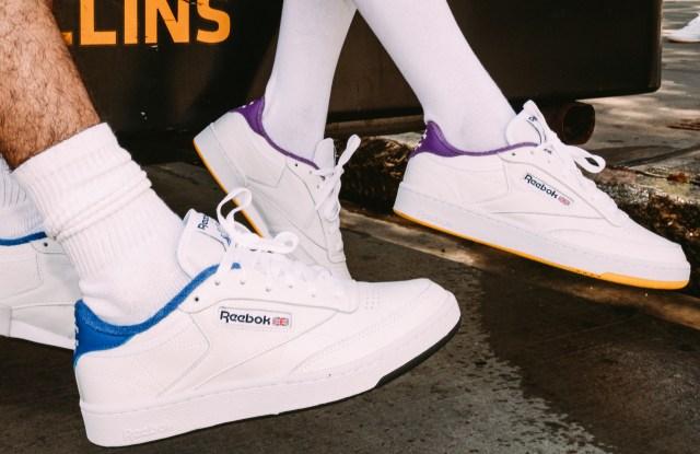 white sneakers people walking